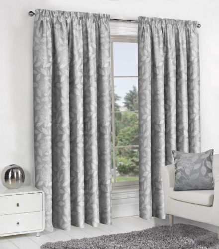 SILVER GREY JACQUARD DESIGN LINED PENCIL PLEAT STYLISH FLORAL LEAF LUXURY MODERN CURTAINS